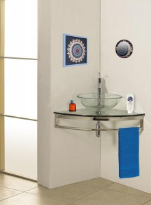 One of many space-saving glass bath vanities