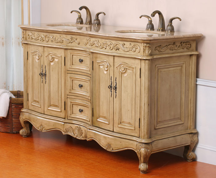 a very elegant double sink antique vanity