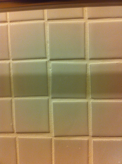 bad bathroom tile job