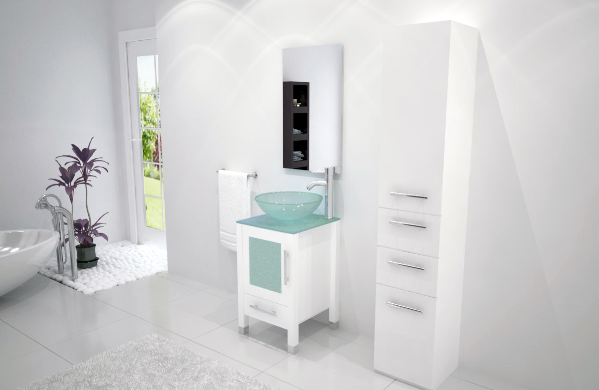 white soft focus vanity