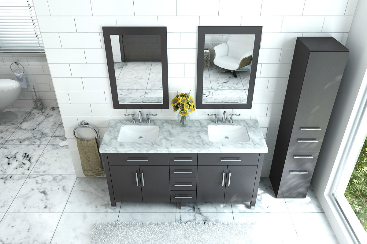 "72"" Rana Double Sink Vanity with Marble Top"