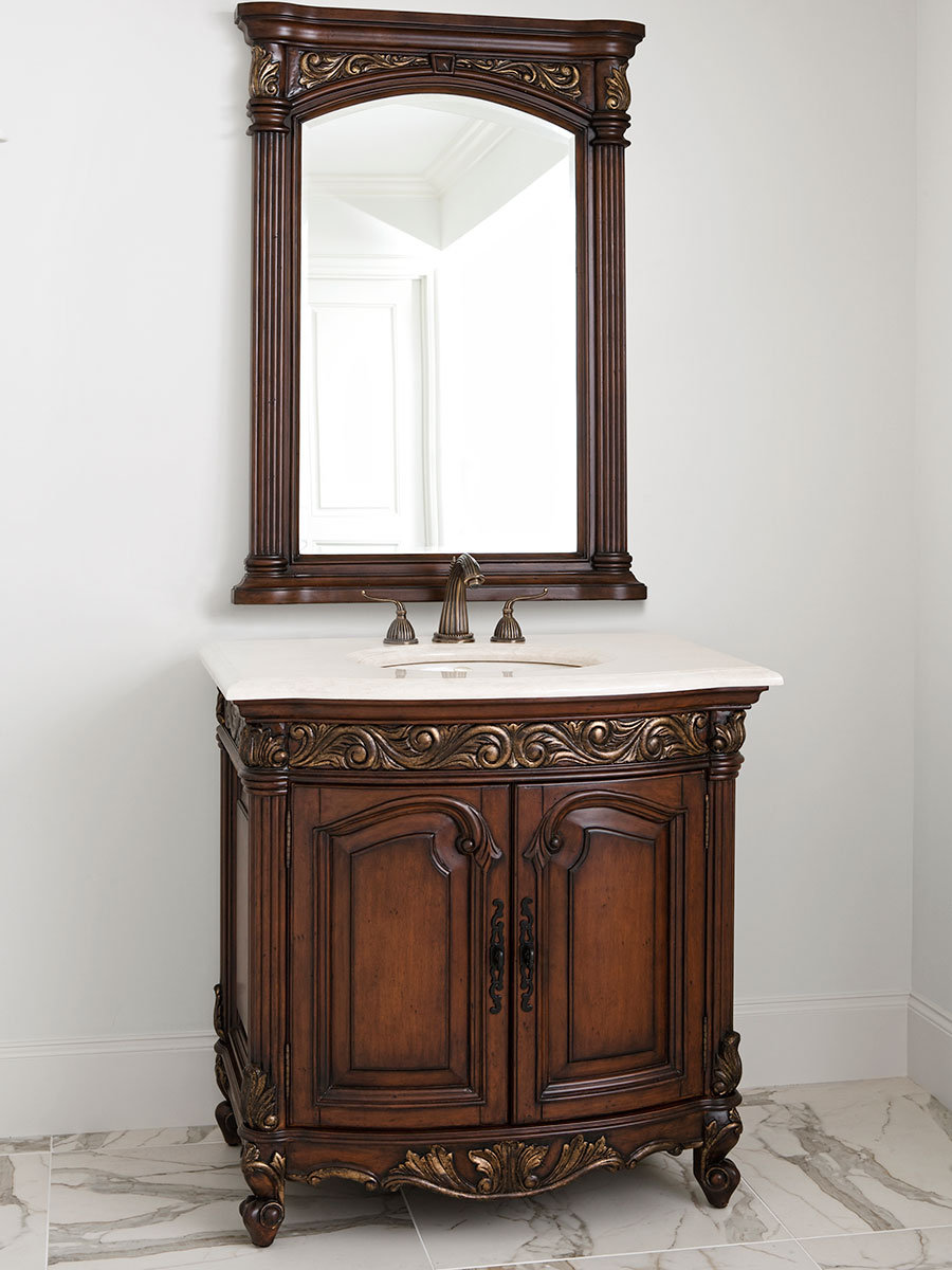 "36"" Provincial Single Bath Vanity - Dark"