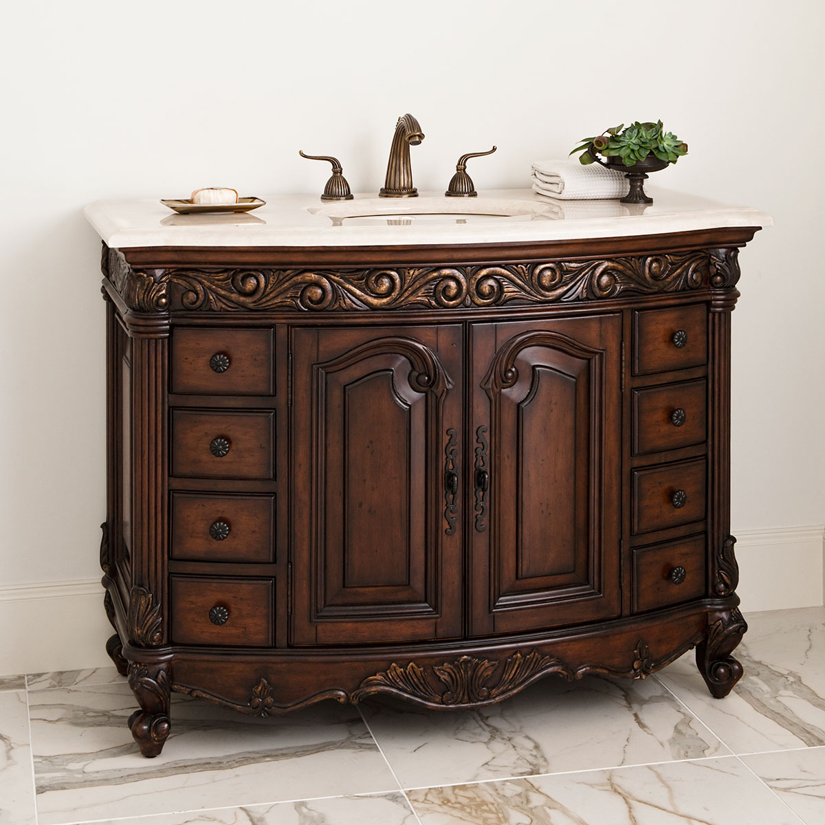 "48"" Provincial Single Bath Vanity - Dark"