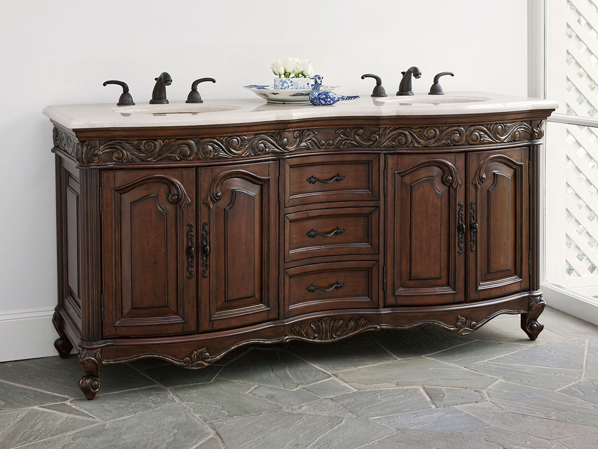 "72"" Provincial Double Sink Vanity - Dark"