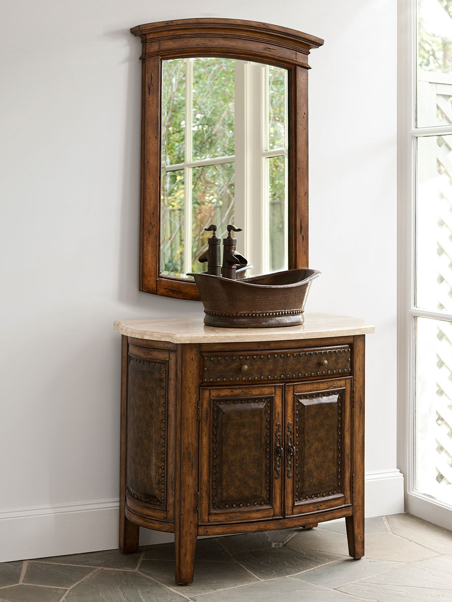 36 Rustico Single Vessel Sink Bath Vanity Shown With Optional Mirror