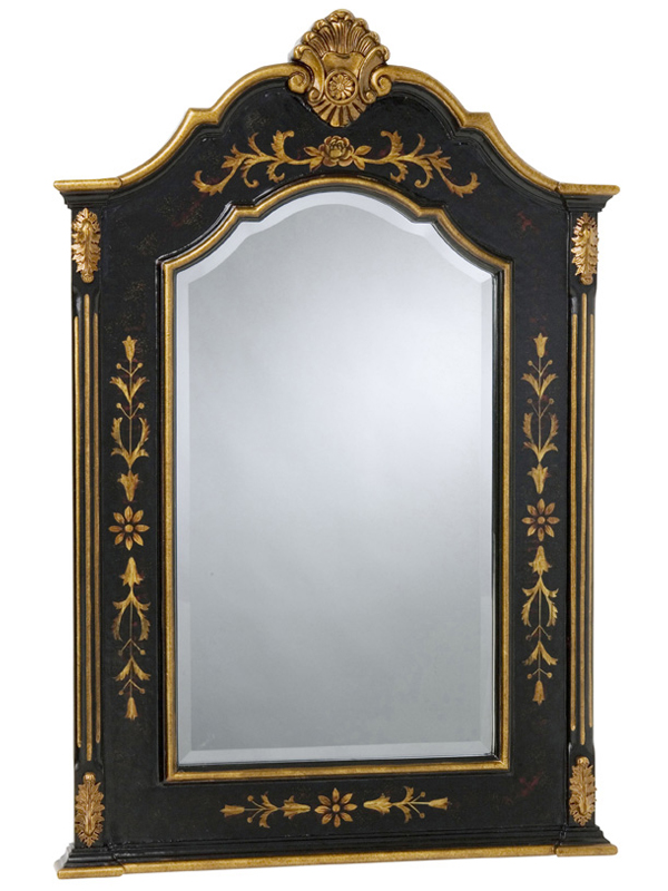 Floral Black Mirror