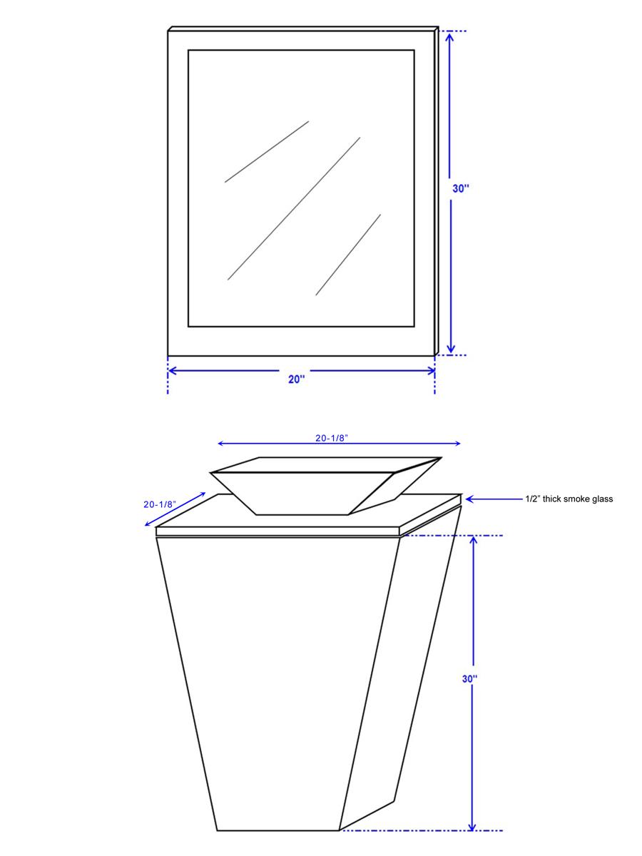 """20"""" Esprit Vessel Sink Vanity - Dimensions"""