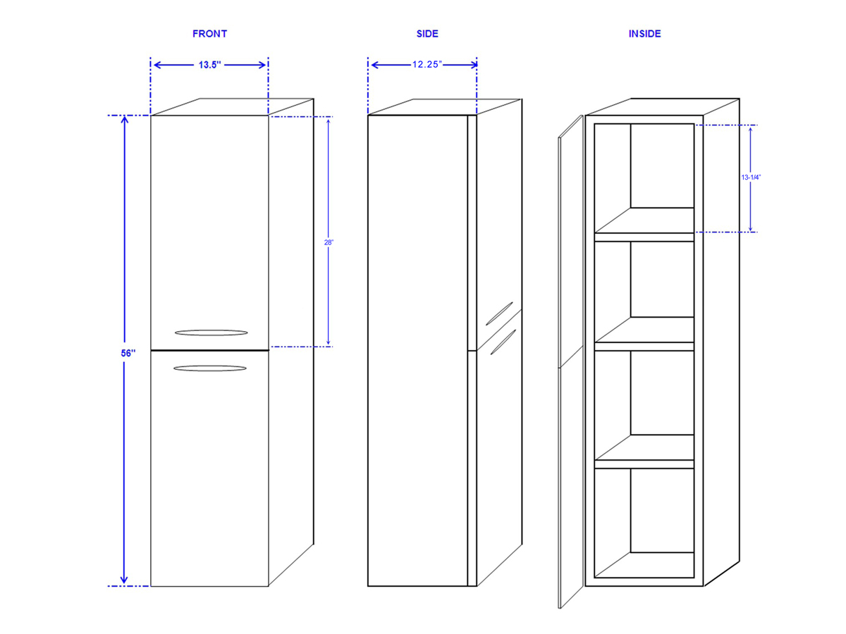 Accara Wall Cabinet - Dimensions