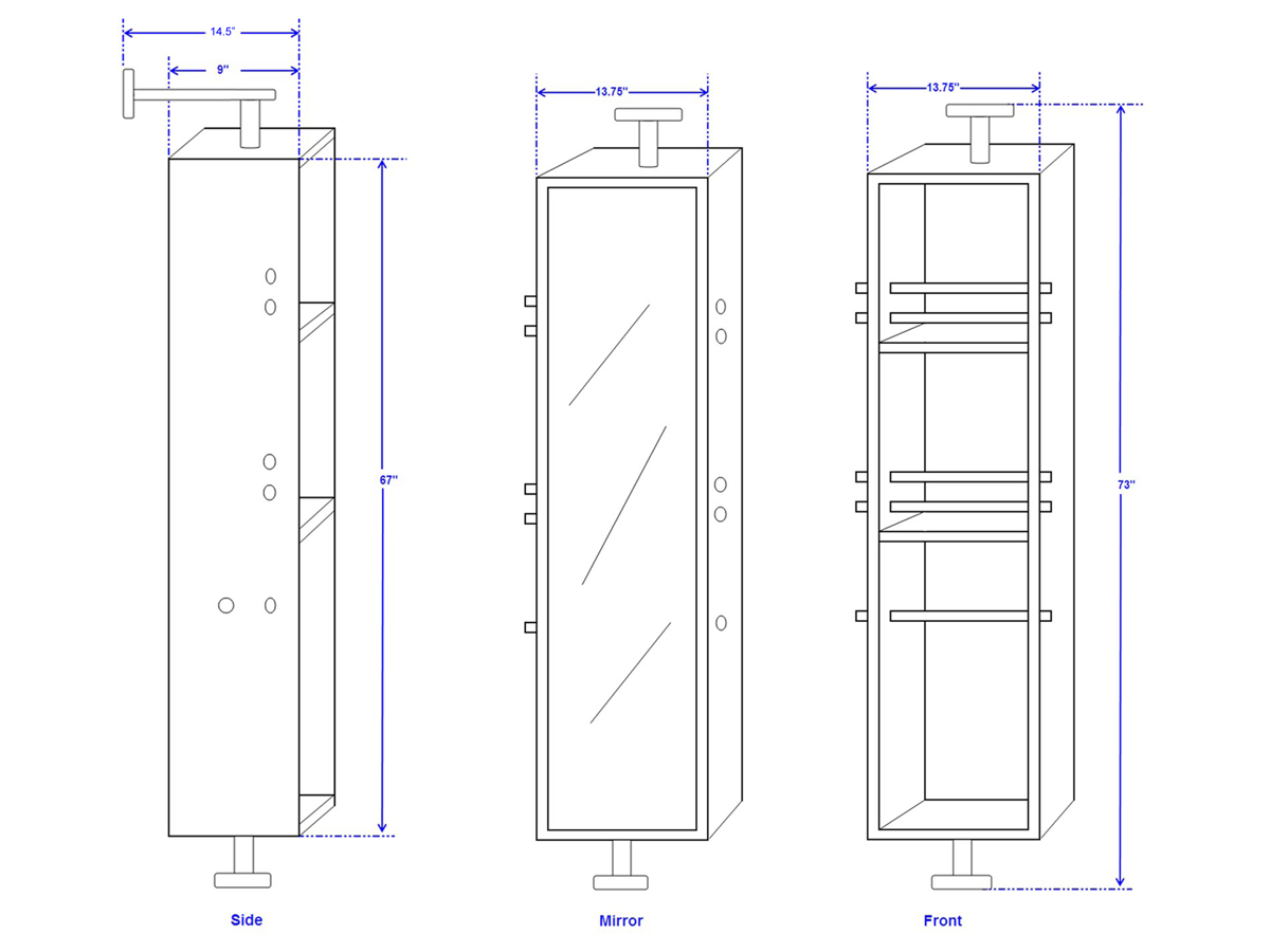 Claire Rotating Floor Cabinet - Dimensions
