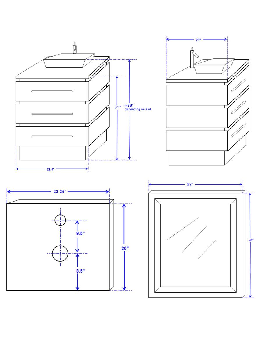 """22.25"""" Rioni Vessel Sink Vanity - Dimensions"""