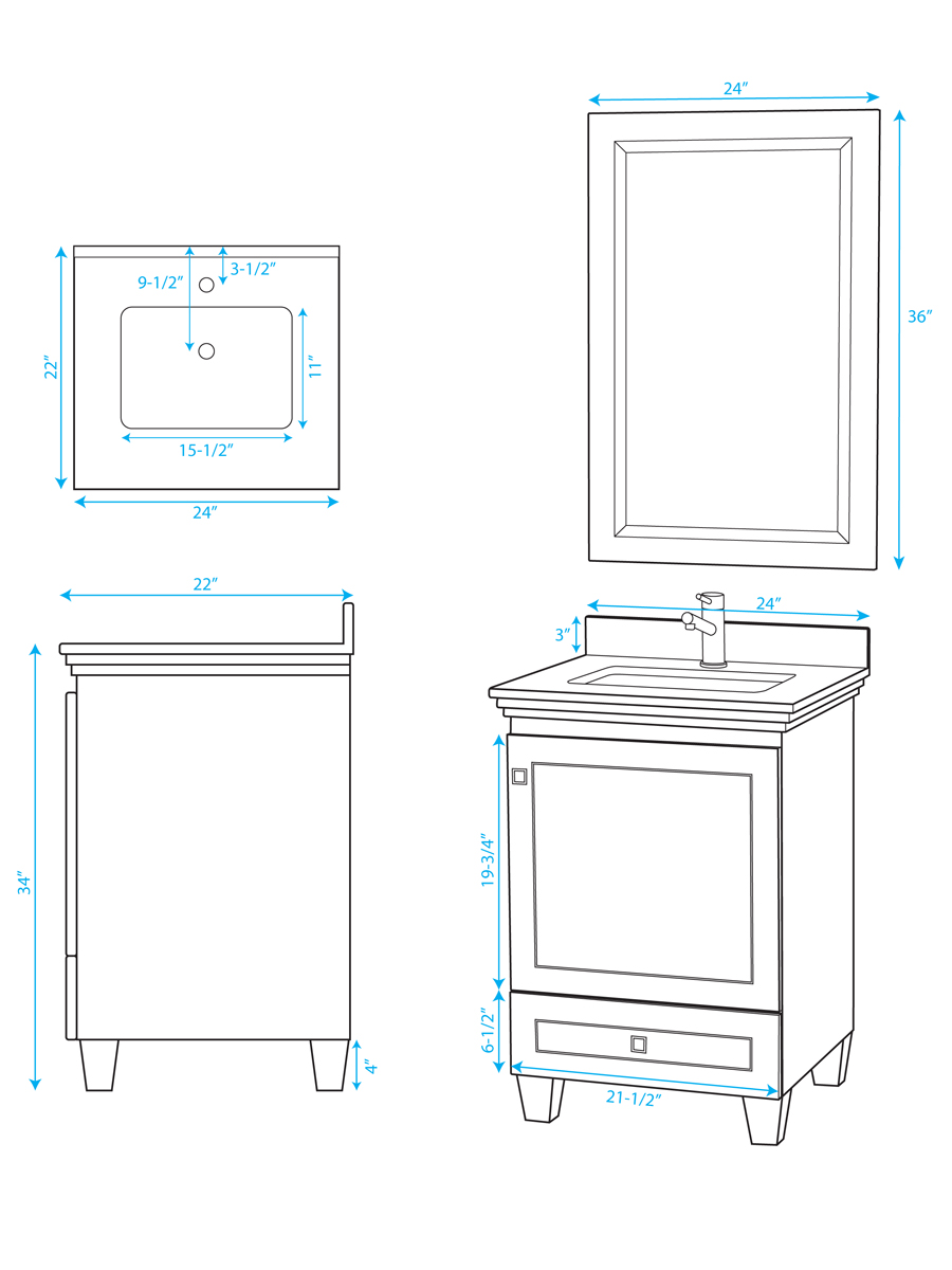 "24"" Acclain Single Vanity - Dimensions"