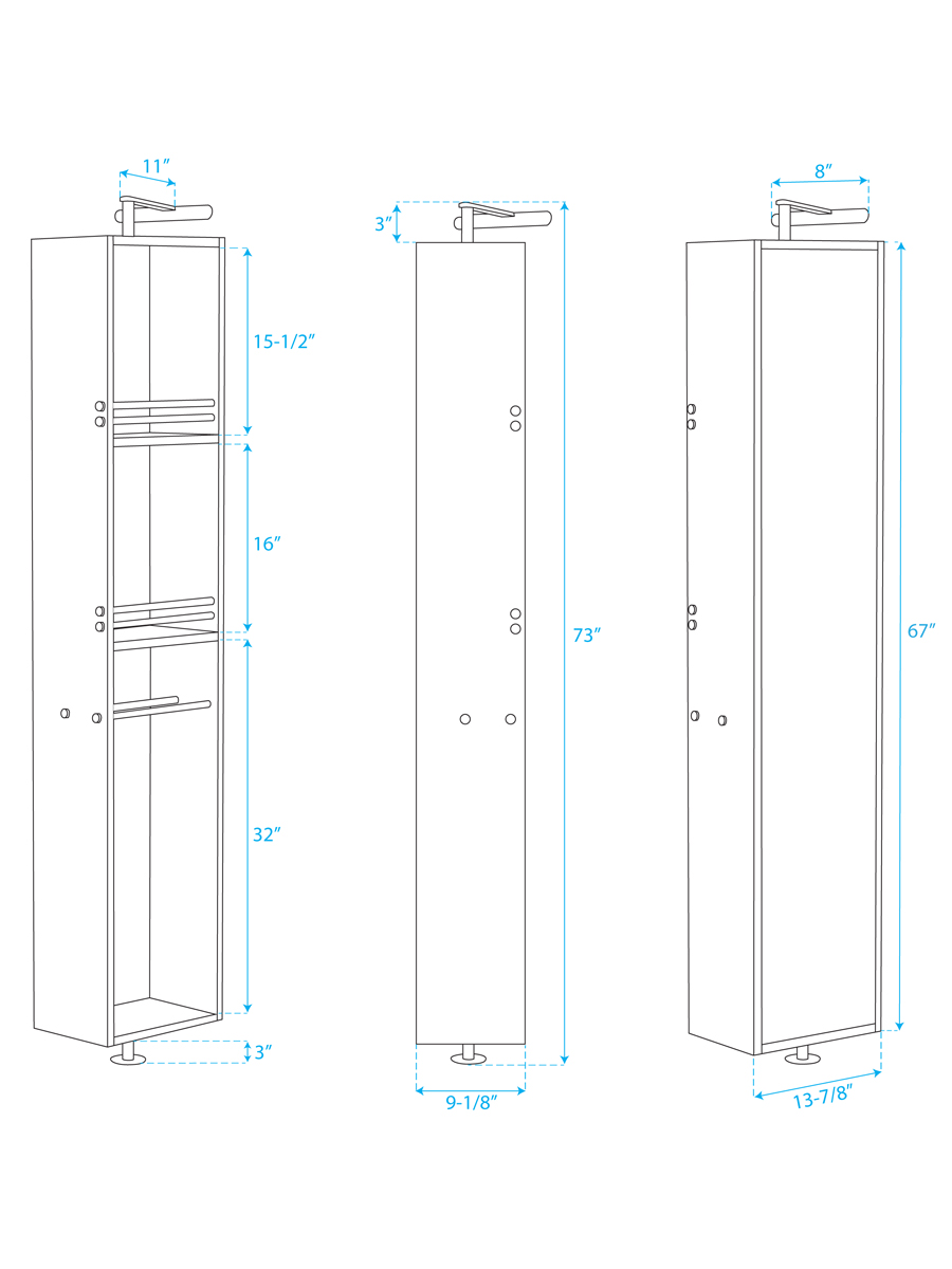 Optional Rotating Floor Cabinet - Dimensions