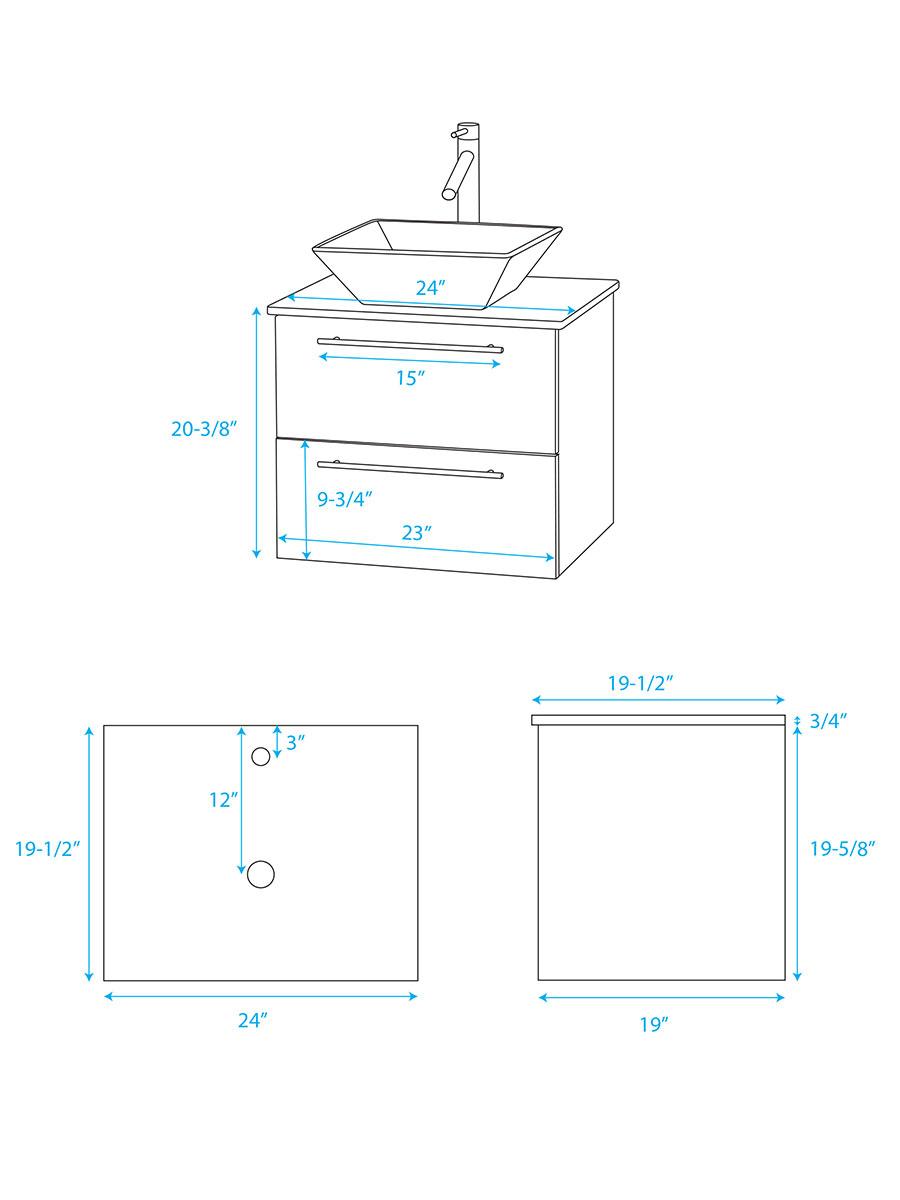 """24"""" Amare Vessel Sink Vanity - Dimensions"""