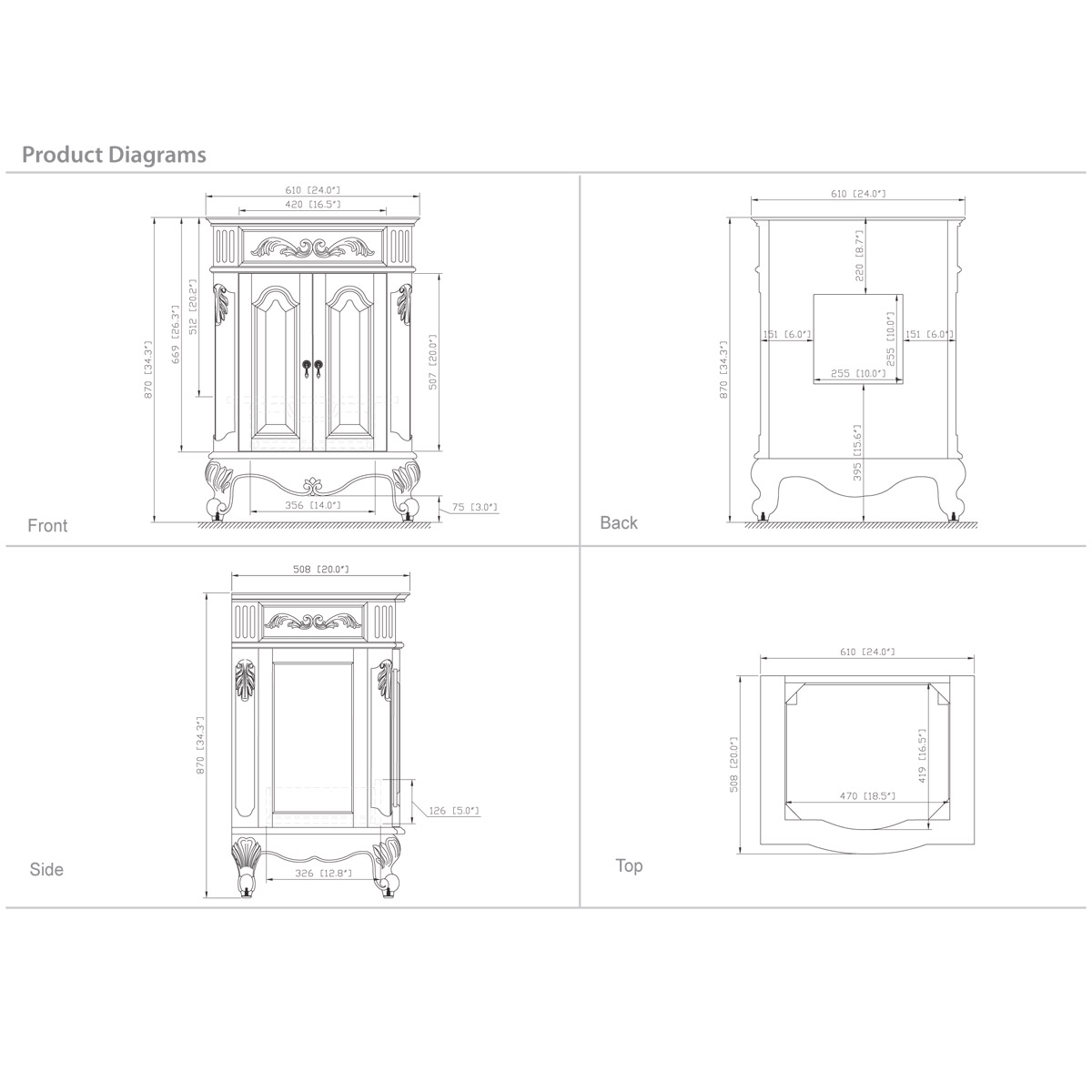 "24"" Aversa Petite Vanity - Dimensions"