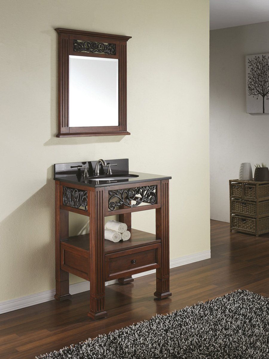 "24"" Scarlino Single Vanity - Shown with optional mirror"