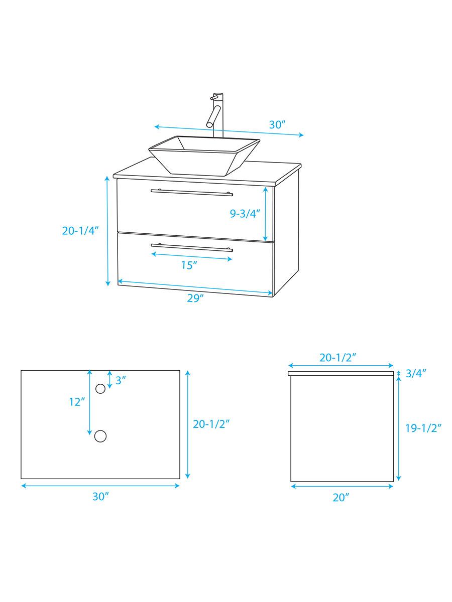 """30"""" Amare Vessel Sink Vanity - Dimensions"""