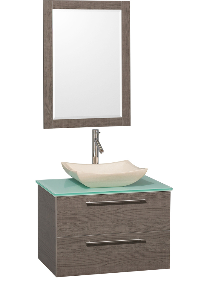 Green Glass Top - Shown with Ivory Marble Sink