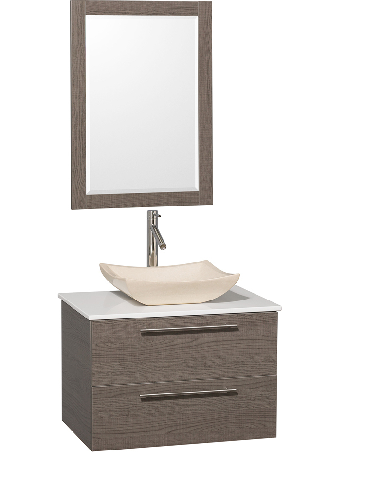 White Artificial Stone Top - Shown with Ivory Marble Sink