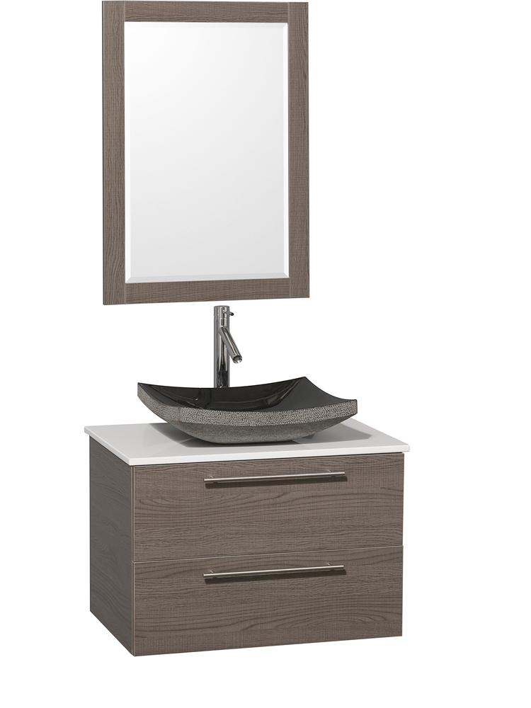 White Artificial Stone Top - Shown with Black Granite Sink
