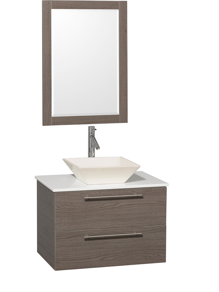 White Artificial Stone Top - Shown with Bone Porcelain Sink