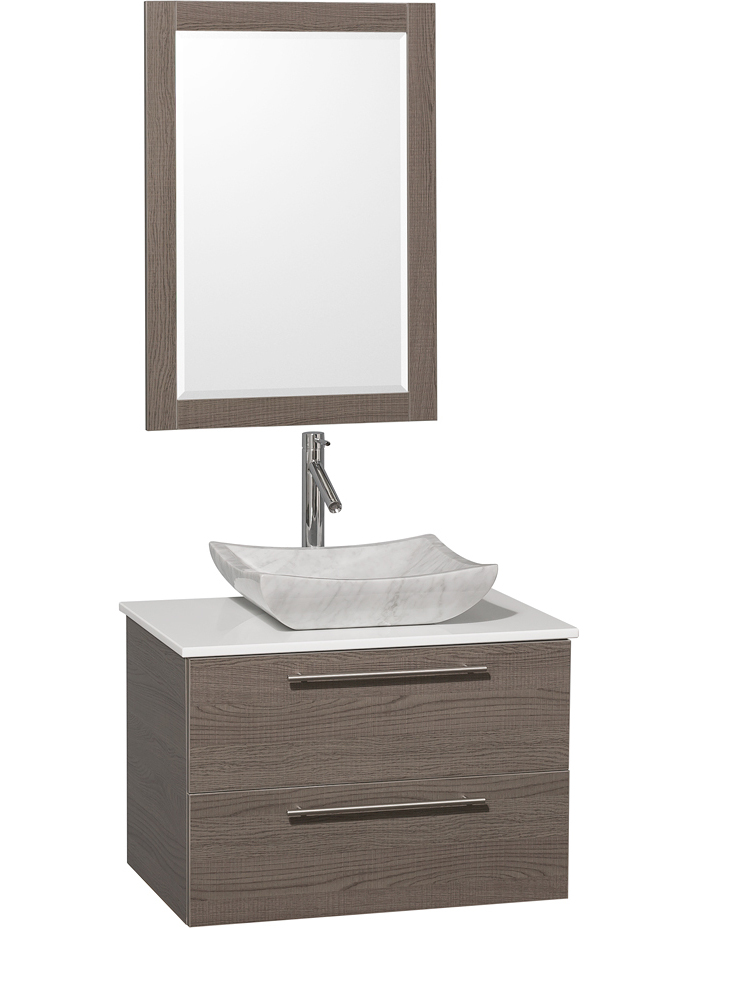 White Artificial Stone Top - Shown with Carrera White Marble Sink