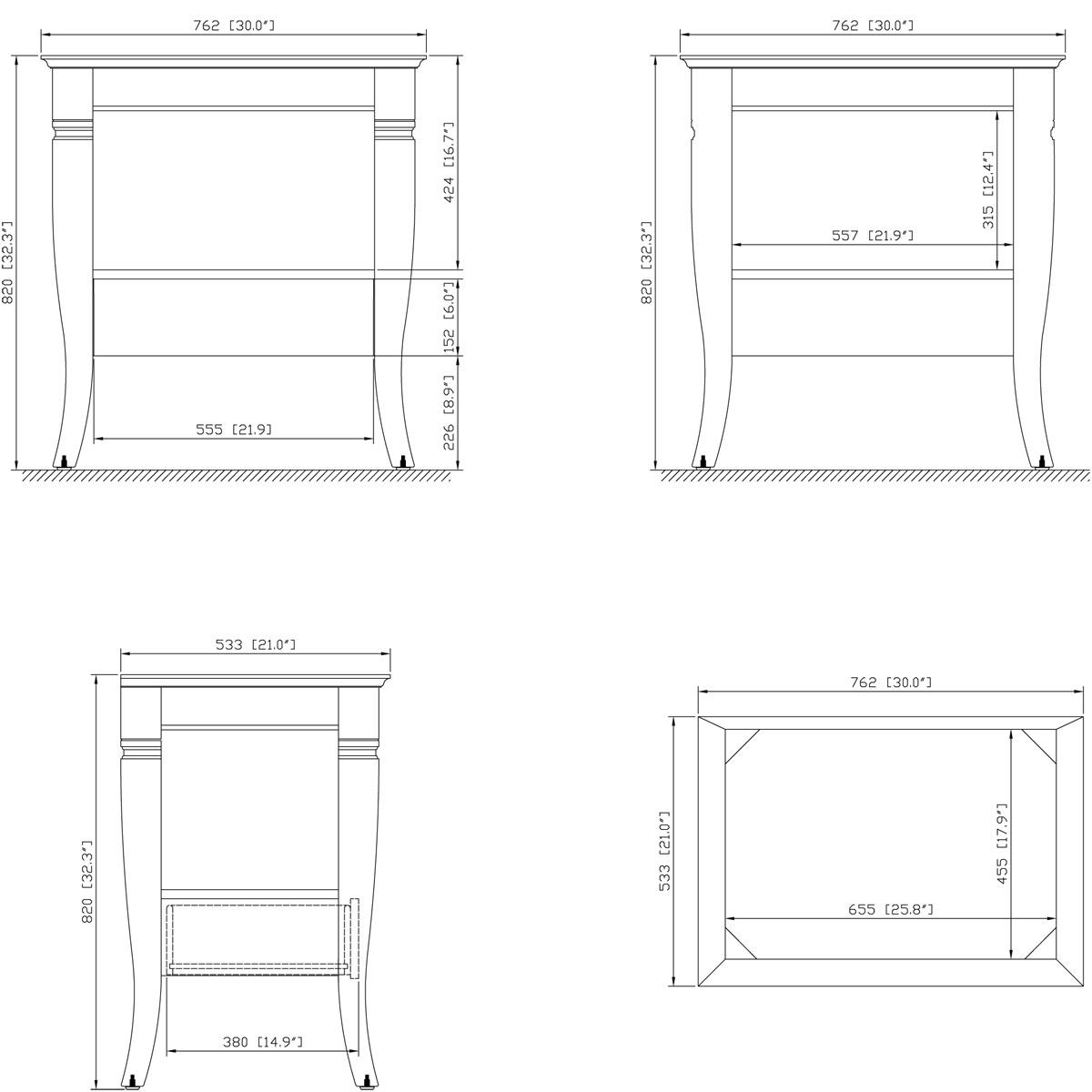 """30"""" Carrara Single Vanity - Dimensions"""