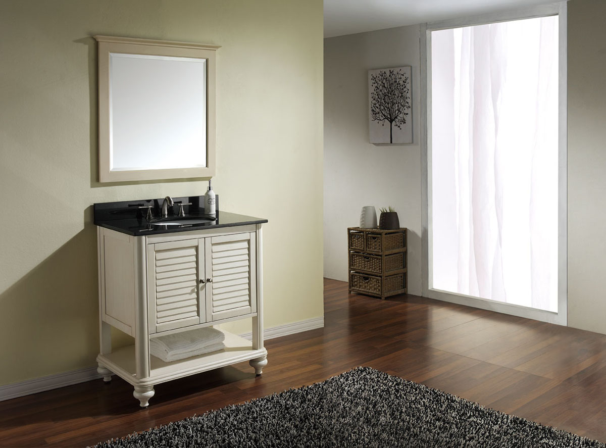 "30"" Treviso Vanity in Antique White - Shown with optional mirror"