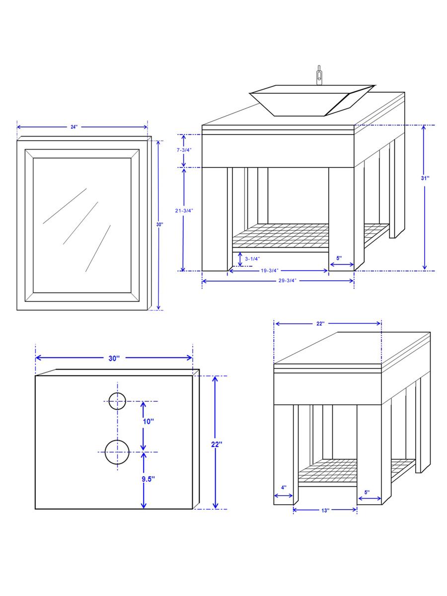 """30"""" Zen Vessel Sink Vanity - Dimensions"""