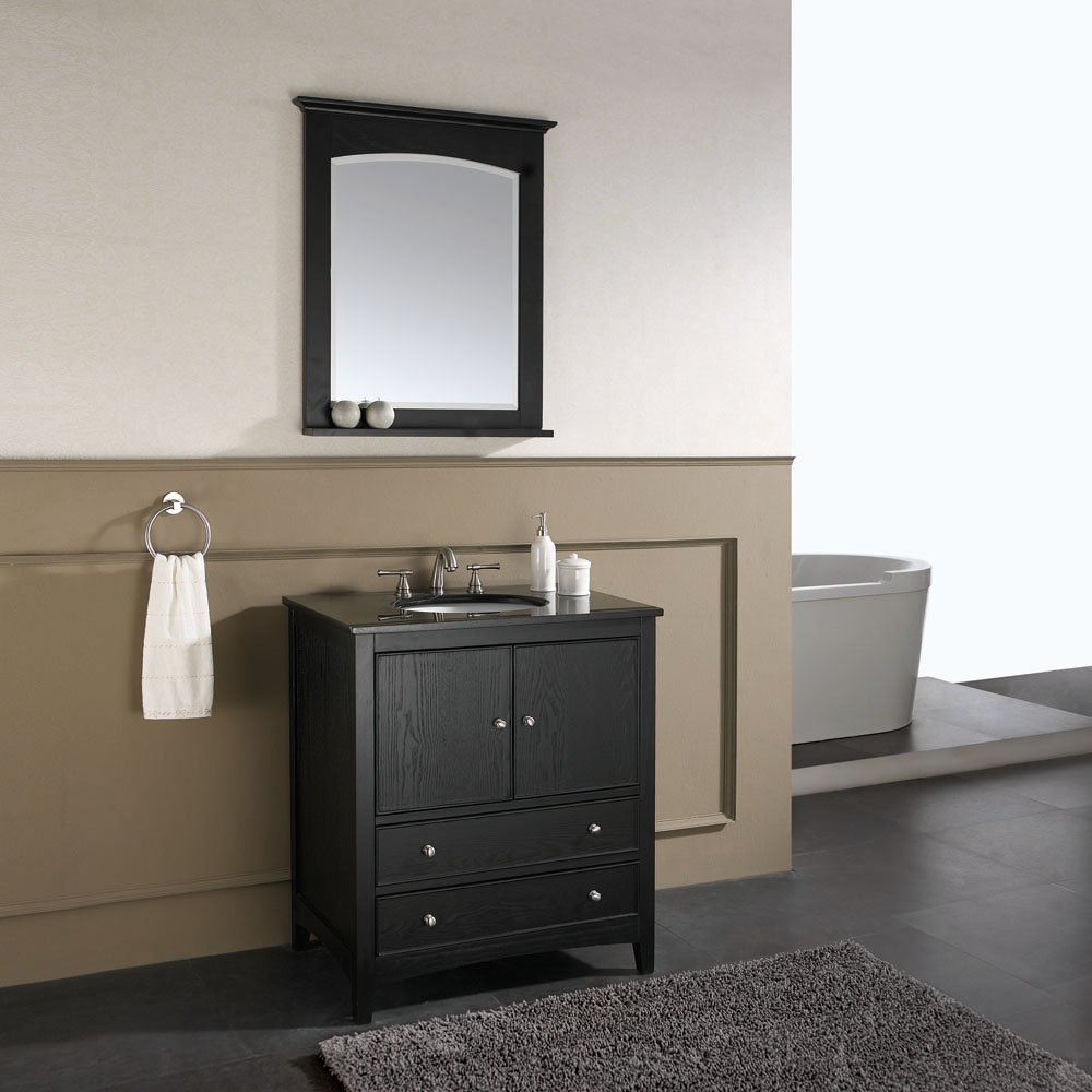 "31"" Lorenzo Single Vanity in Ebony with optional mirror"