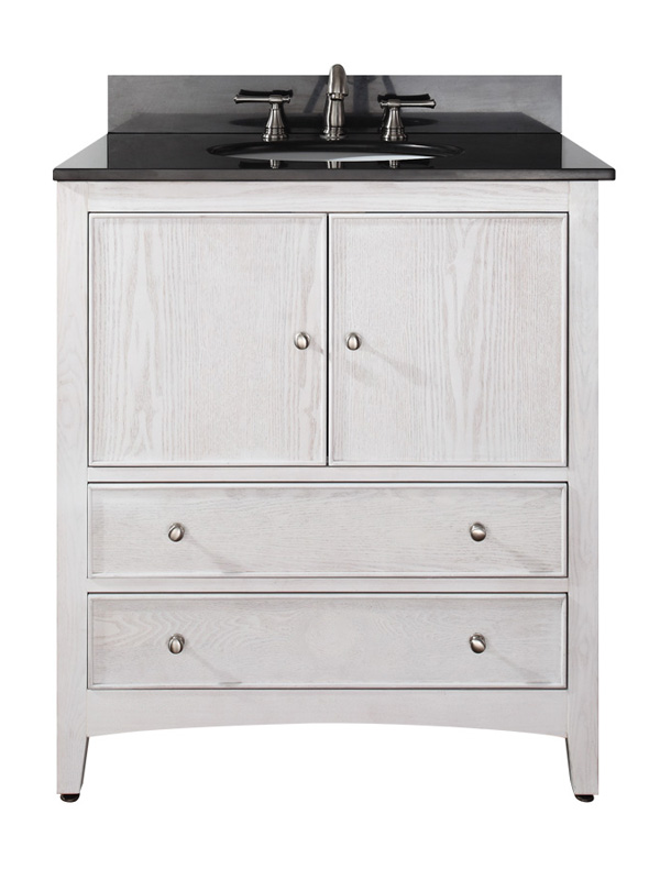 "31"" Lorenzo Vanity in White - with Black Granite Top"