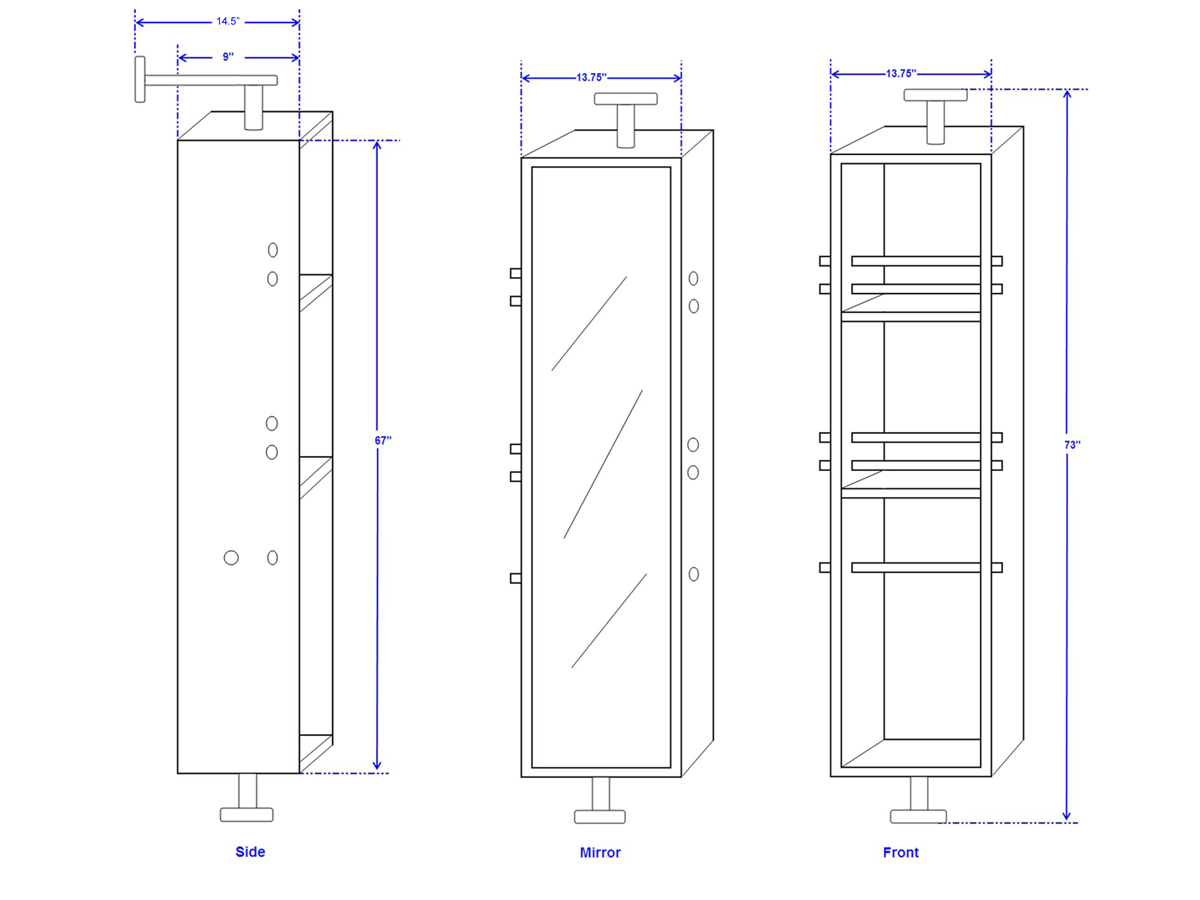 Claire Rotating Cabinet - Dimensions