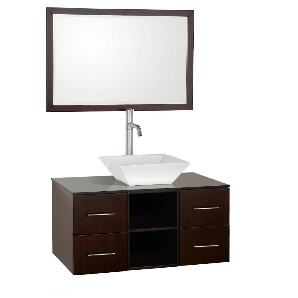 Shown with Smoked Glass top and White Porcelain Vessel Sink
