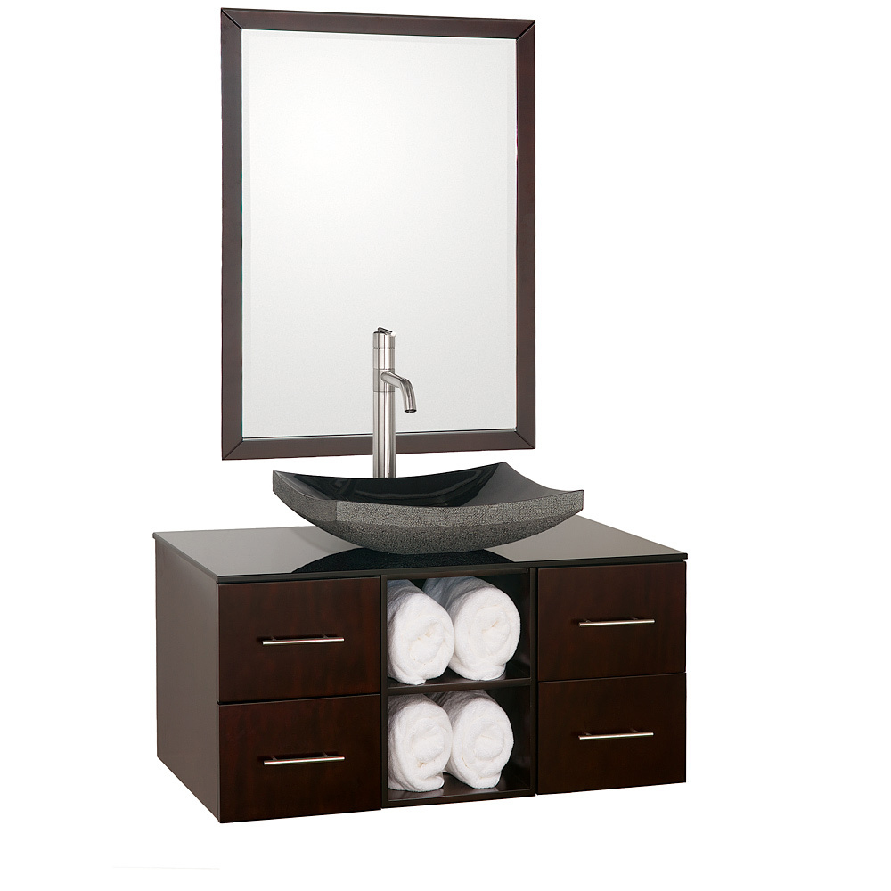 Shown with Smoked Glass top and Black Granite Vessel Sink