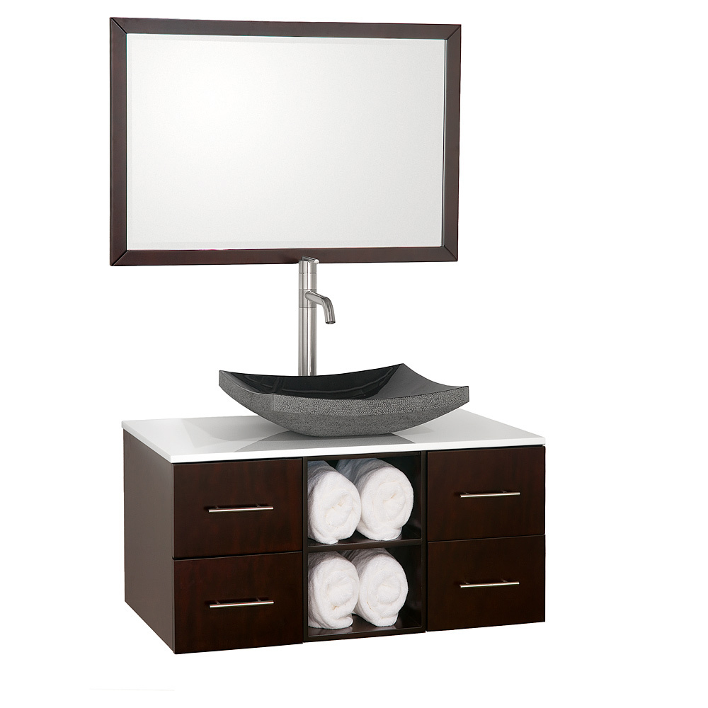 Shown with White Glass top and Black Granite Vessel Sink
