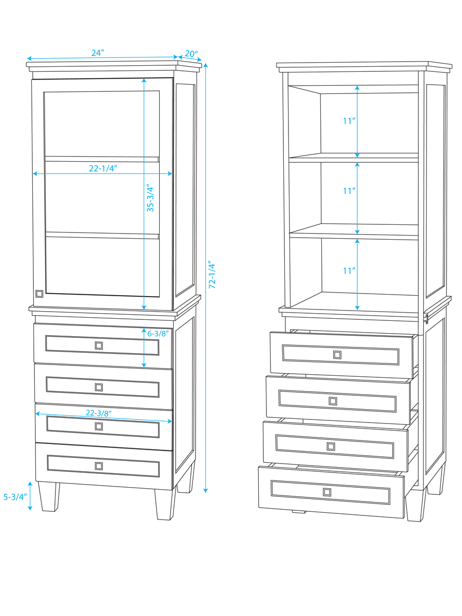 Optional Linen Tower - Dimensions