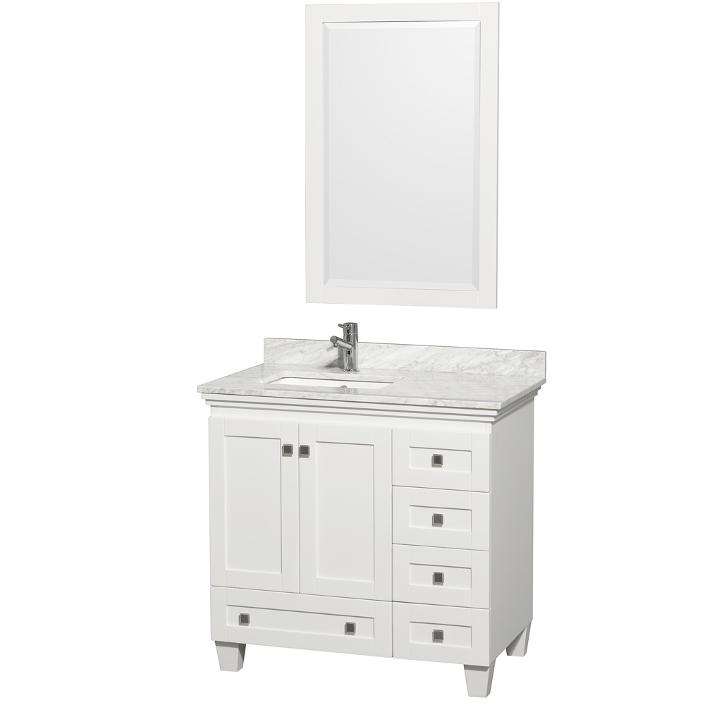 Shown with Carrera White Marble Top and Mirror