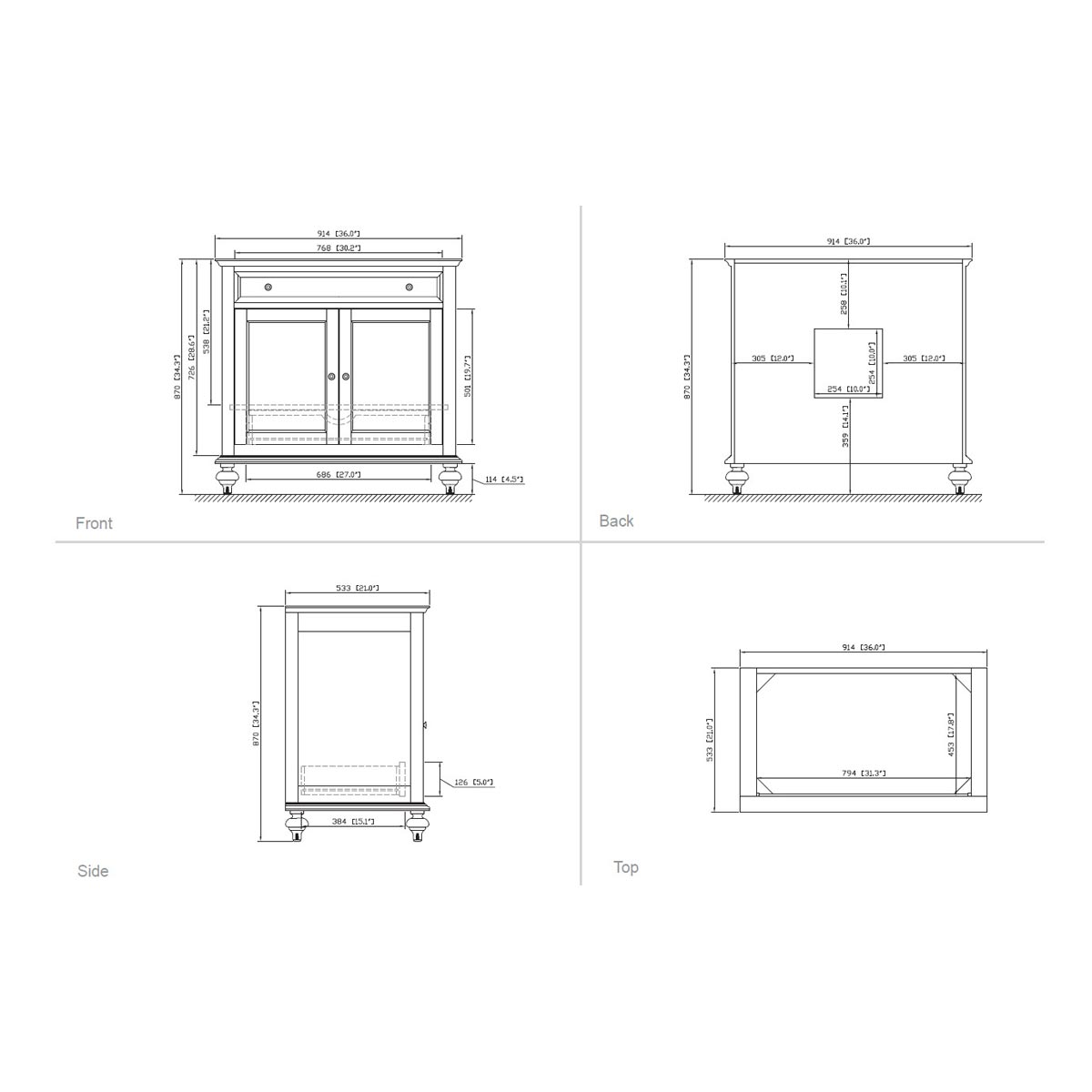 "36"" Alessano Single Vanity - Dimensions"
