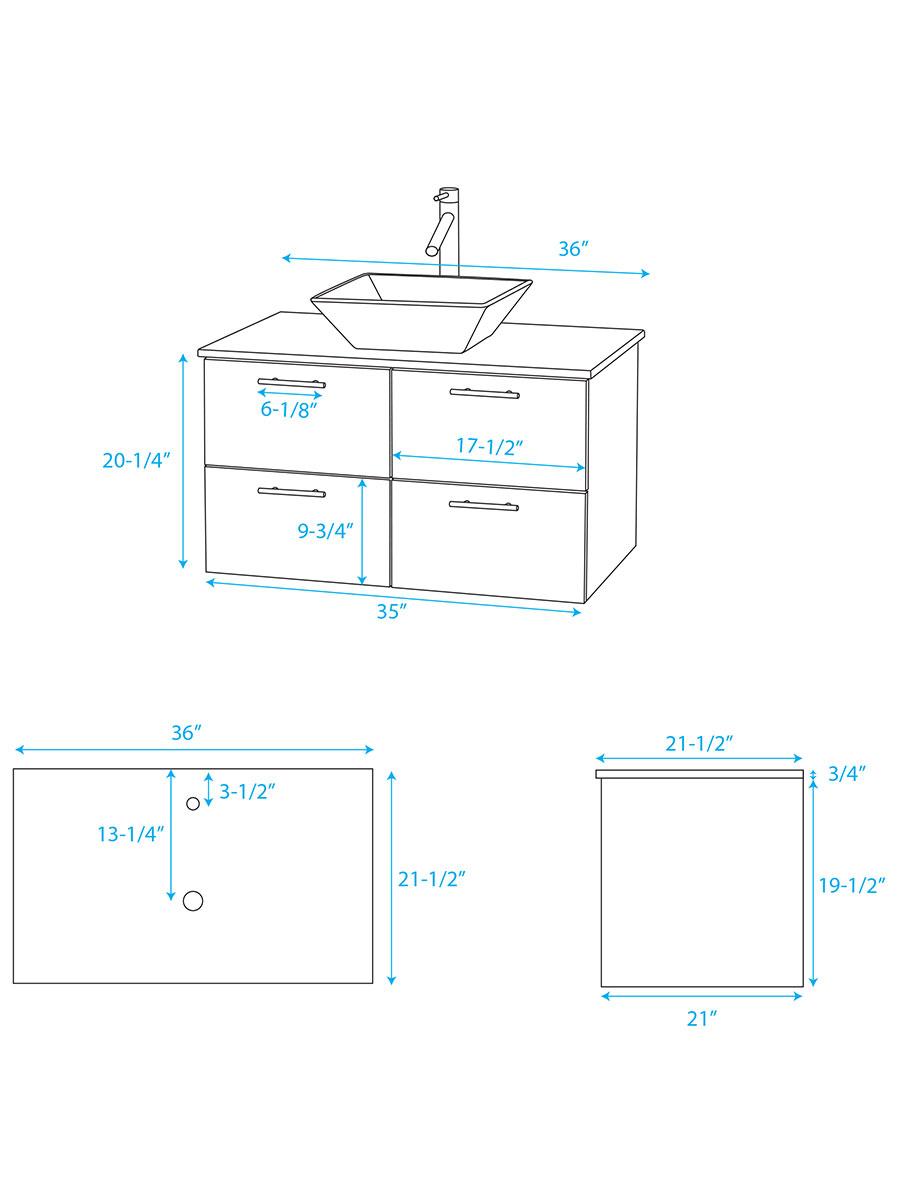 """36"""" Amare Vessel Sink Vanity - Dimensions"""