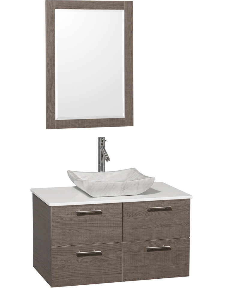 Artificial Stone Top - Shown with Carrera White Marble Sink