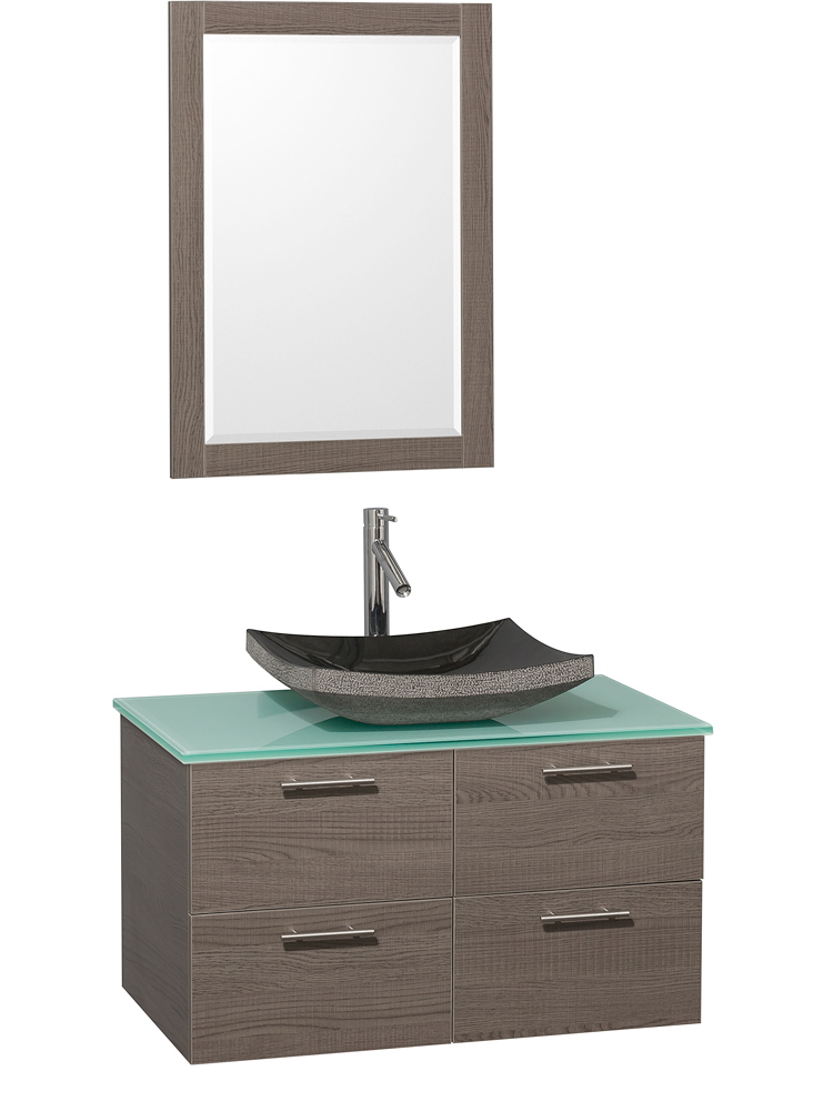 Green Glass Top - Shown with Black Granite Sink