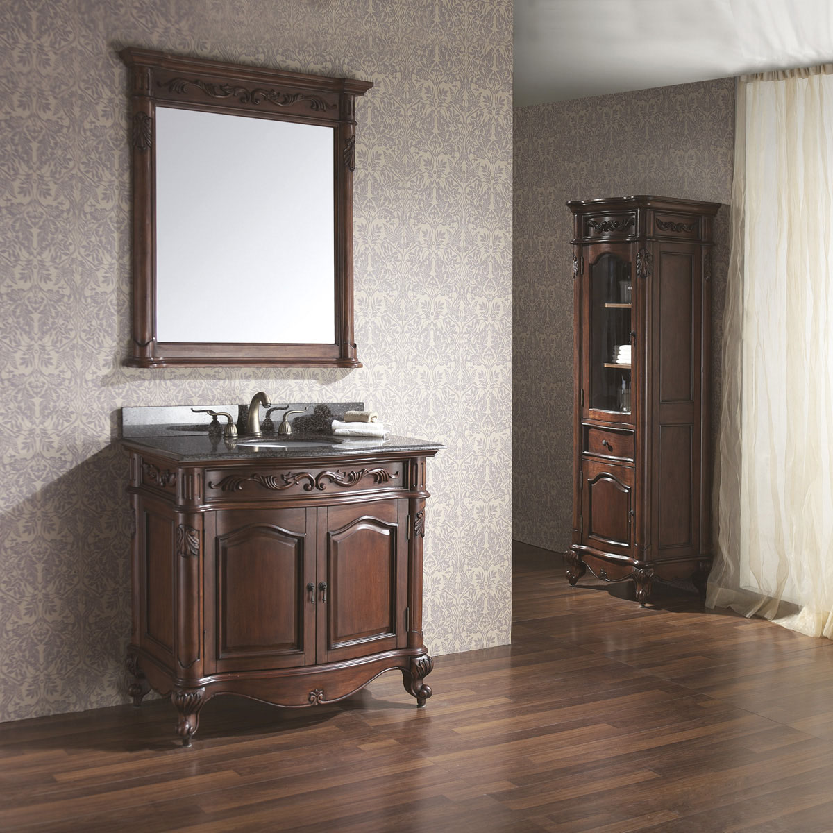 """36"""" Aversa Single Vanity - With optional mirror and linen cabinet"""