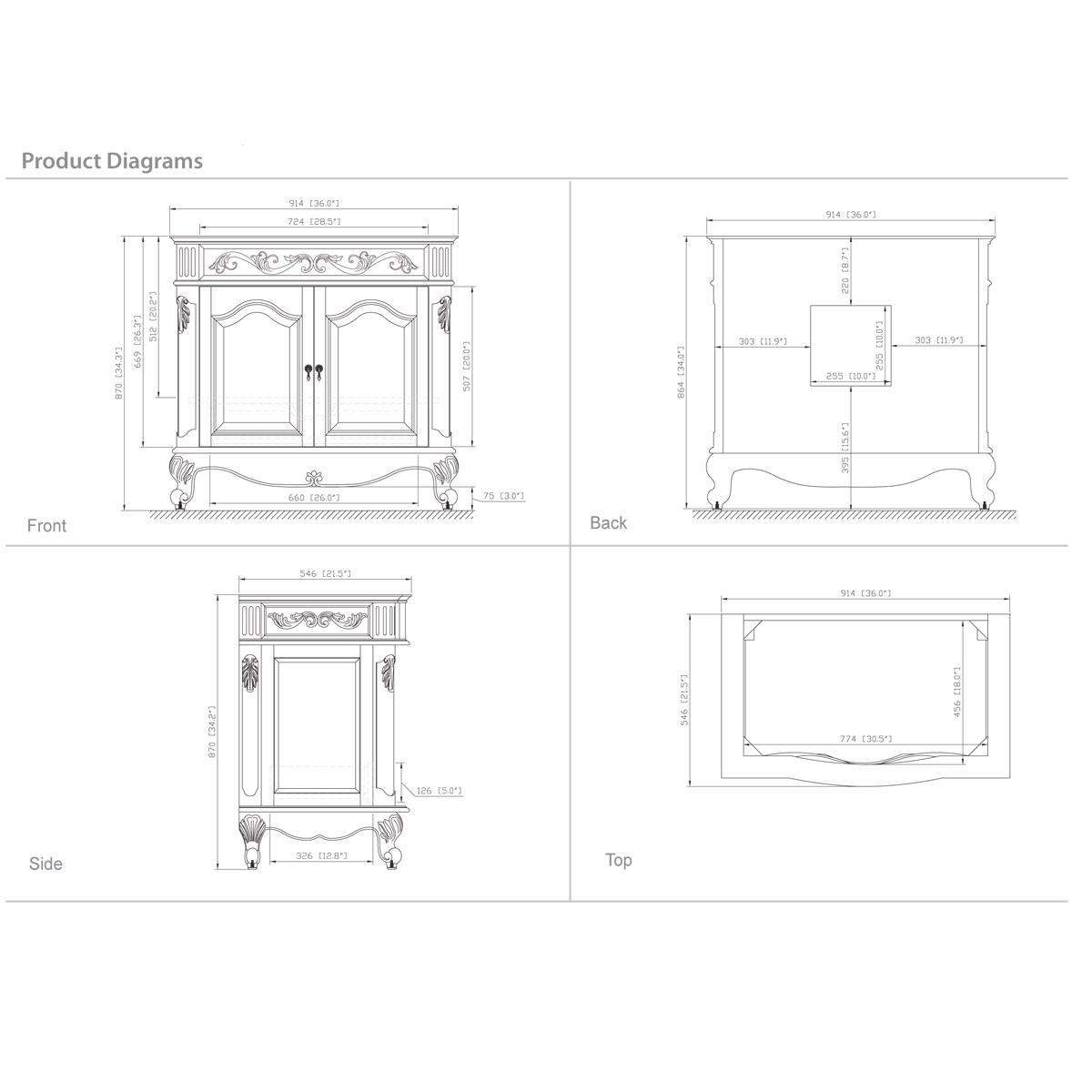 "36"" Aversa Single Vanity - Dimensions"