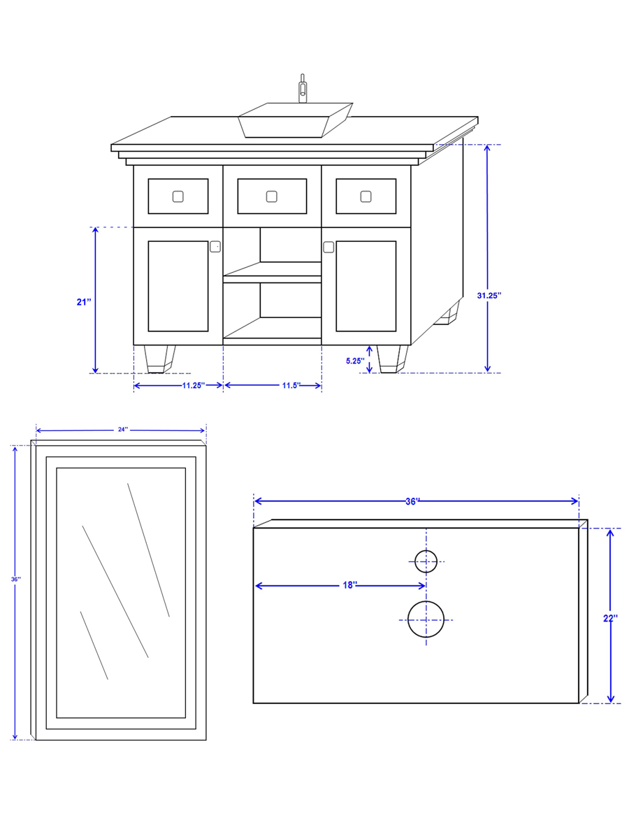 """36"""" Premiere Vessel Sink Vanity - Dimensions"""
