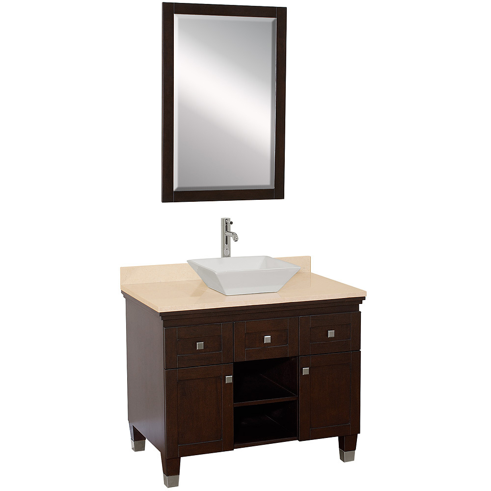 Shown With Ivory Marble Top And White Porcelain Sink