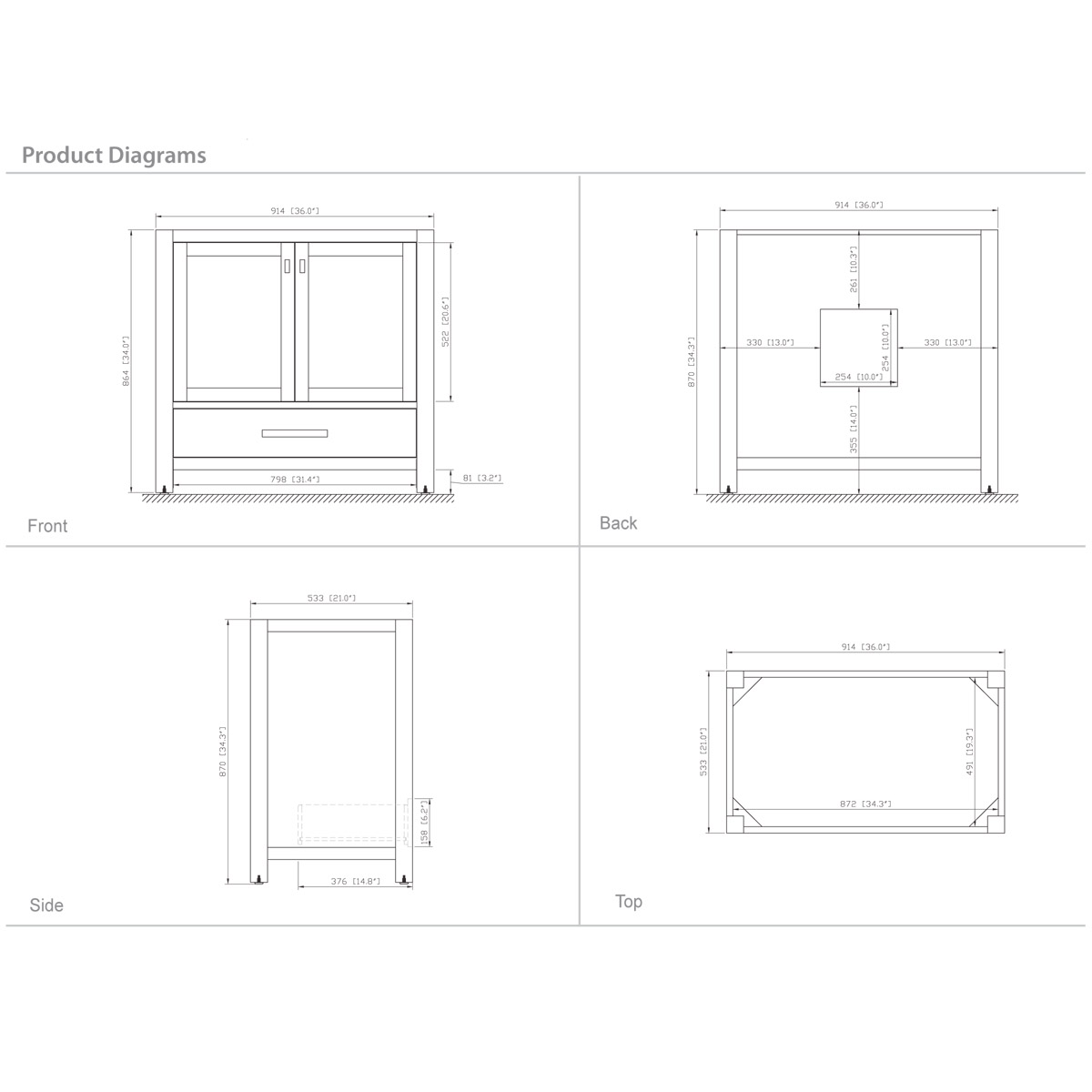 "36"" Toscana Vanity in White - Dimensions"