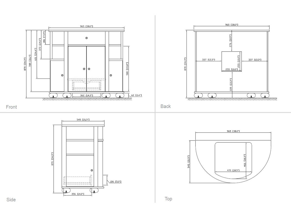 "38"" Belcastro Single Vanity - Dimensions"