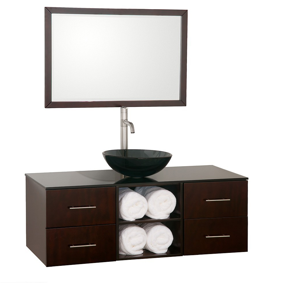 Shown with Smoke Glass Top and Smoke Glass Vessel Sink