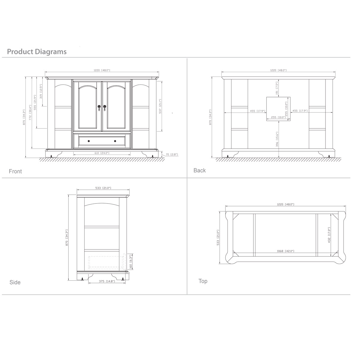 "48"" Gisela Wide Single Vanity - Dimensions"