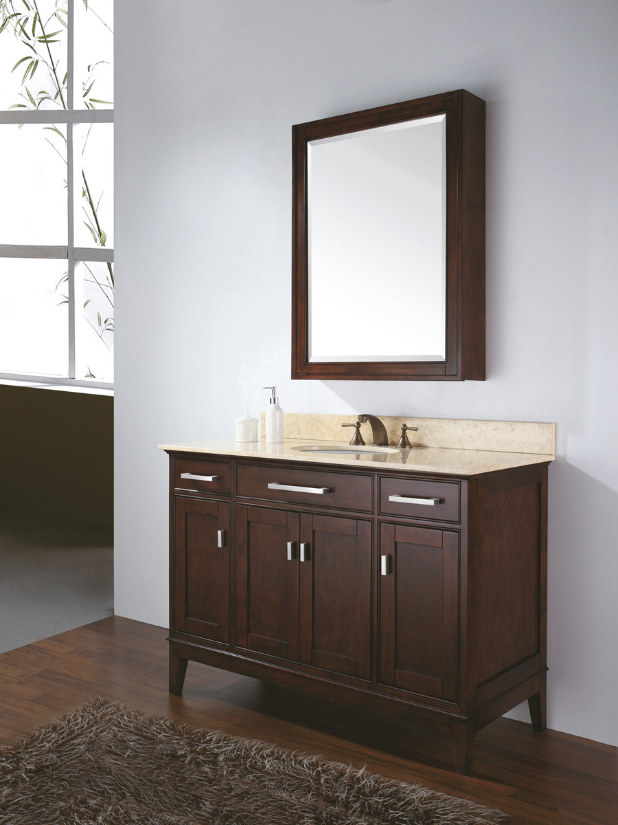 "48"" Marciana Vanity in Light Espresso  - With optional medicine cabinet"