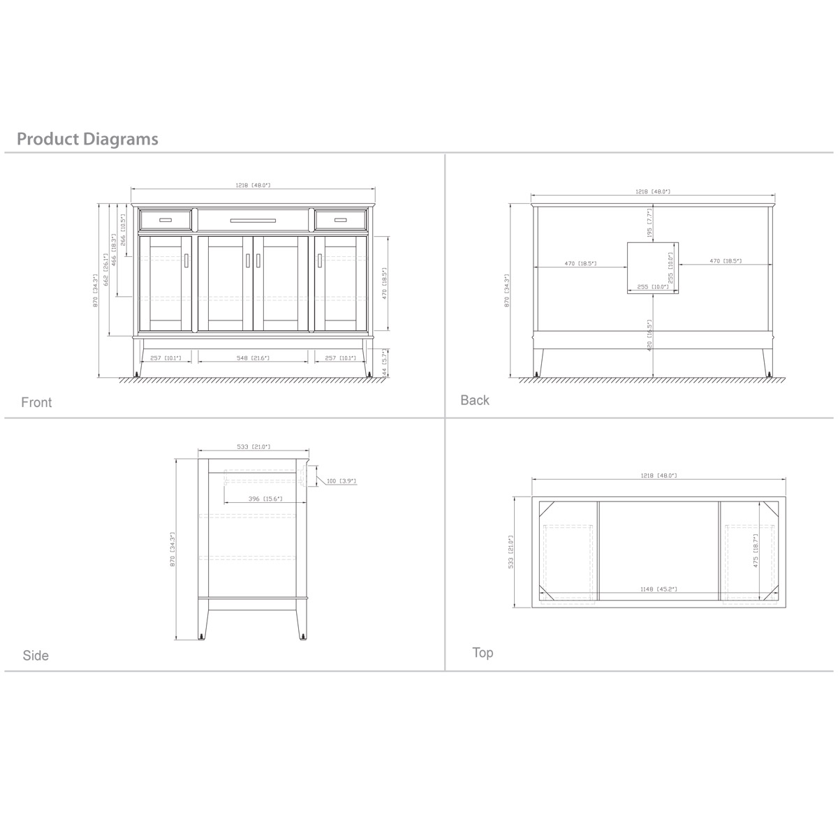 "48"" Marciana Vanity in Light Espresso - Dimensions"